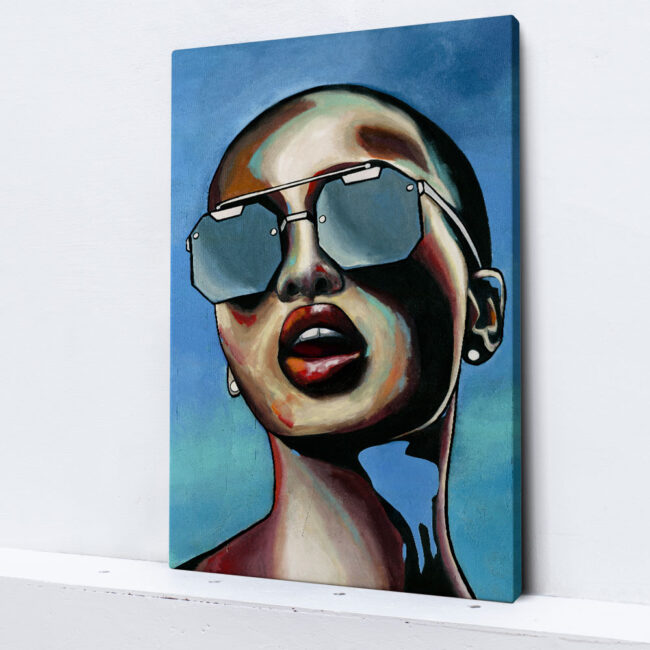 painting of a girl with sunglasses