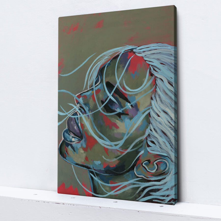 abstract girl artwork blue