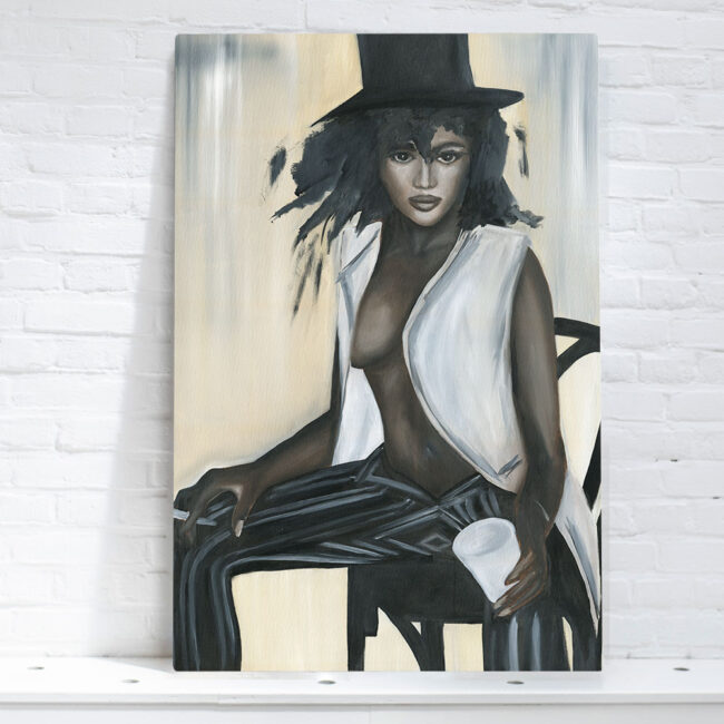 painting go black woman with a hat and cigarette