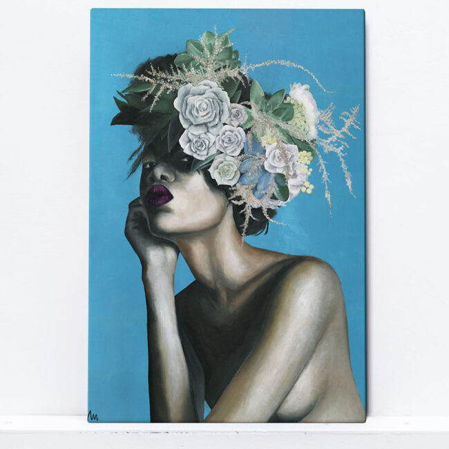 painting of naked girl with flowers on a head