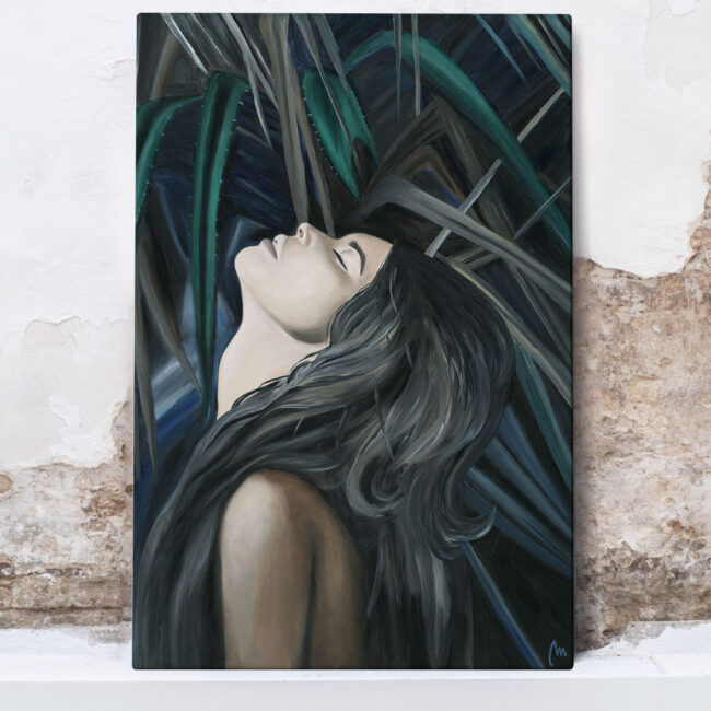 painting of wild girl in nature