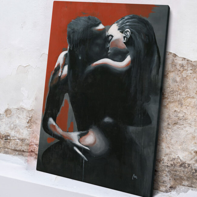 erotic artwork of couple, painting of black couple