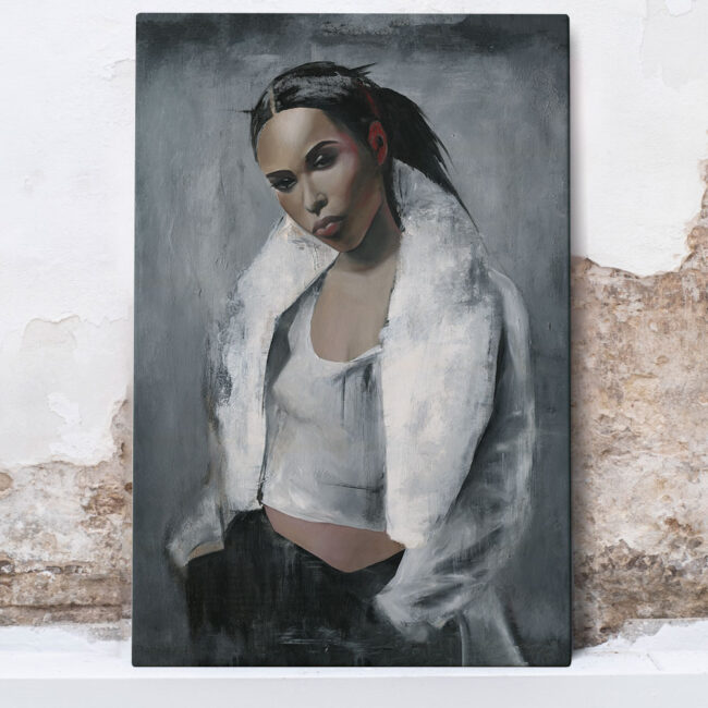 wall art of Aaliyah, portrait of a strong woman