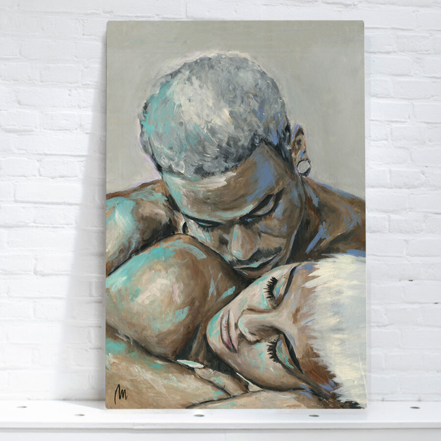 painting of couple abstract