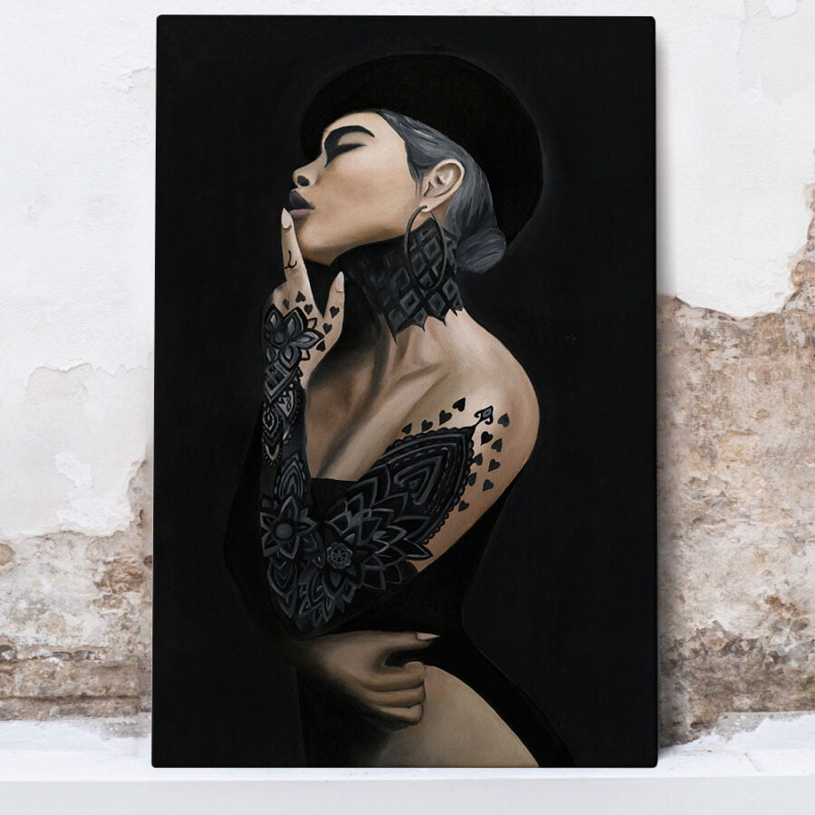 painting of a woman with tattoos