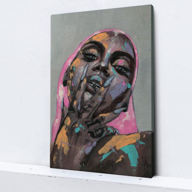 abstract wall art woman smoking weed