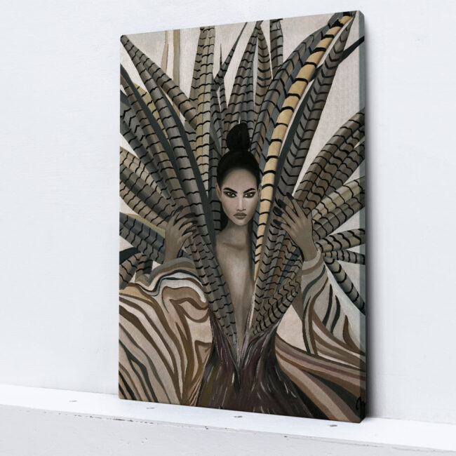 wall art girl with feathers, portrait of a woman