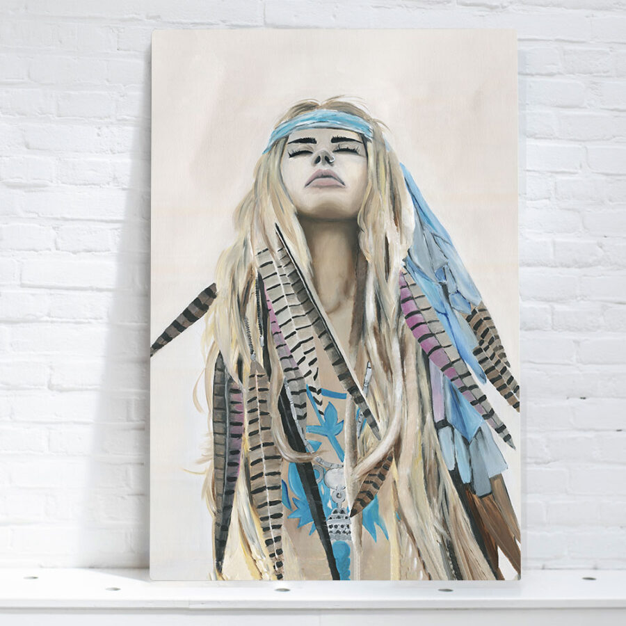wild woman wall art, painting of spiritual woman