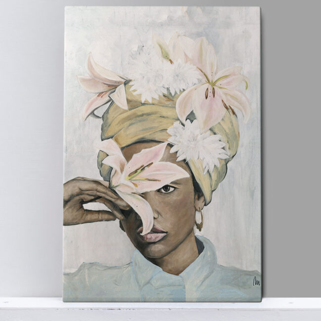 portrait of African woman with flowers