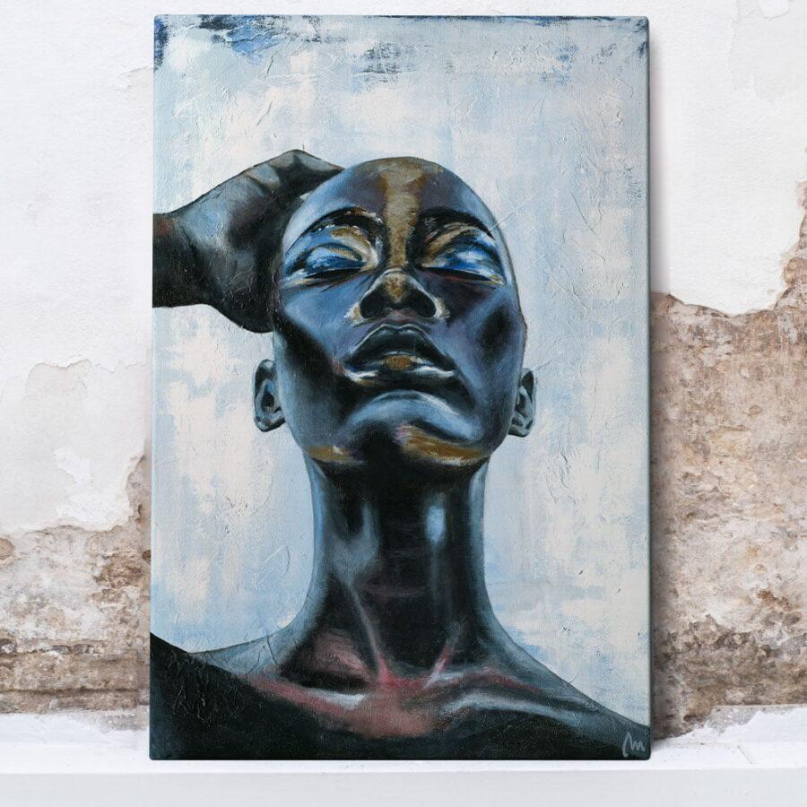 black art painting, woman art for sale big