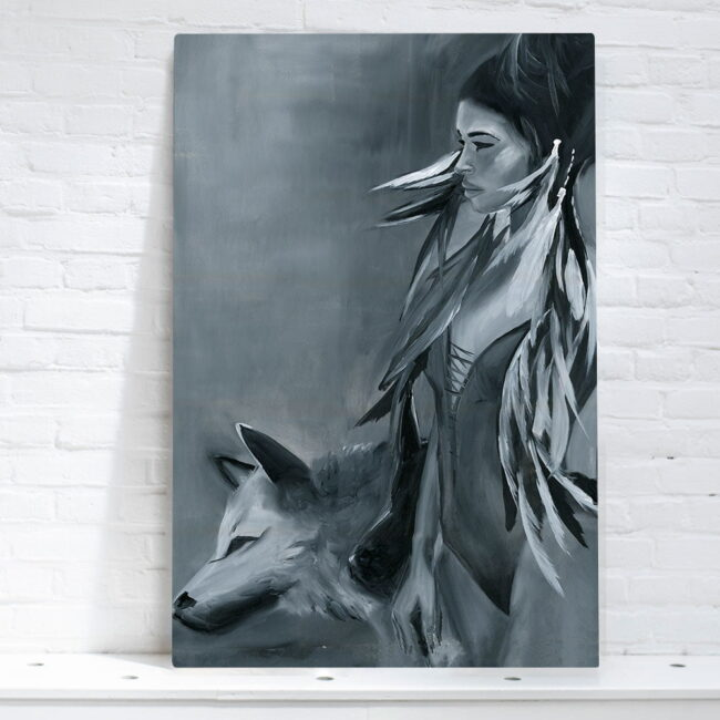 woman with wolves art canvas painting for sale big