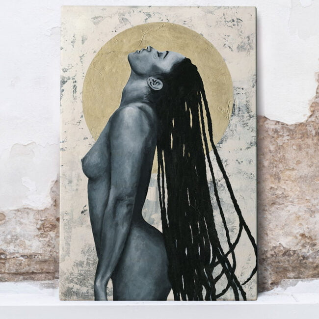 painting of naked woman and gold circle